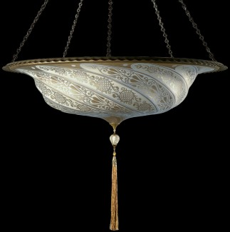 Fortuny Lighting Scudo Saraceno Glass Lamp Silver Classico Decoration Thru Luminosodesign